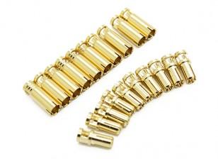 Conectores de bala quatro milímetros Supra X de ouro (10 pares)