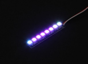 8 RGB LED 7 Board Color (Oblong) 5V e Controlador LED RGB inteligente com Futaba Estilo Plugs