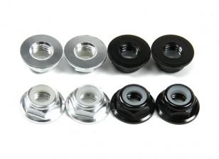 Aluminum Flange Low Profile Nyloc Porca M5 (4 Black CW e 4 de prata CCW)