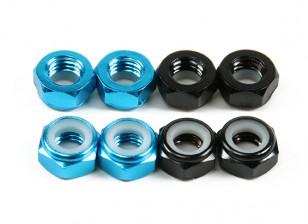 De alumínio de baixo perfil Nyloc Porca M5 (4 Black CW & 4 Light Blue CCW)