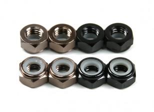 De alumínio de baixo perfil Nyloc Porca M5 (4 Black CW & 4 CCW Titanium)