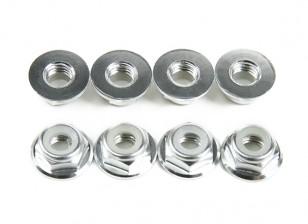 Aluminum Flange Low Profile Nyloc Porca M5 prata (CW) 8pcs