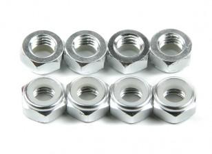 Alumínio Baixo Perfil Nyloc Porca M5 prata (CCW) 8pcs