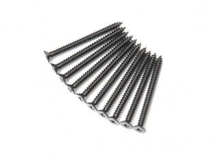 Screw Flat Head Phillips M2.6x30mm Self Tapping Steel Black (10pcs)