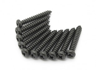 Screw Round Head Phillips M2.6x16mm Self Tapping Steel Black (10pcs)
