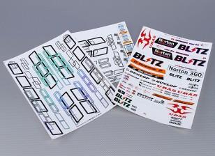 Folha de Auto-adesivo Decal - Norton 1/10 Scale (3pc)