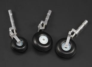 Alloy Oleo Strut definido w / rodas de 90 milímetros / 1,20 Classe Jet