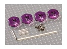 Adaptadores de rodas roxo alumínio com parafusos de fixação - 4 milímetros (12 milímetros Hex)