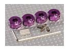 Adaptadores de rodas roxo alumínio com parafusos de fixação - 6 milímetros (12 milímetros Hex)