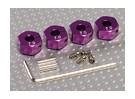 Adaptadores de rodas roxo alumínio com parafusos de fixação - 7 milímetros (12 milímetros Hex)