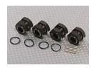 Titanium Cor Alumínio 1/8 Adaptadores de roda com o bujão Wheel Nuts (17 milímetros Hex - 4pc)