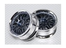 1:10 Scale Set Roda (2pcs) Chrome / Gun Metal 'Y' 7 raios 26 milímetros RC Car (No Offset)