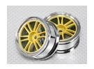 01:10 de rodas Scale Set (2pcs) Chrome / Yellow Divisão de 6 raios 26 milímetros RC Car (No Offset)