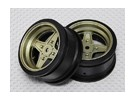 01:10 Roda Scale Set (2pcs) Gold / Black 4 raios RC 26 milímetros Car (No Offset)